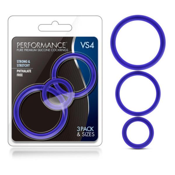 Performance Vs4 Pure Premium Silicone Cockring Set Indigo