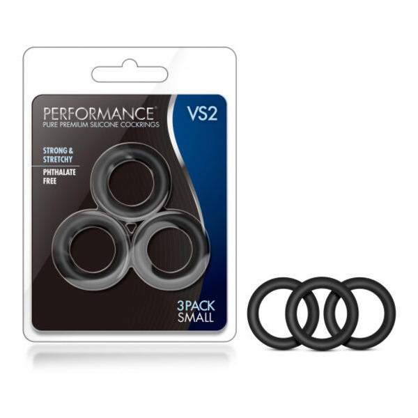 Performance Vs2 Pure Premium Silicone Cockrings Small Black